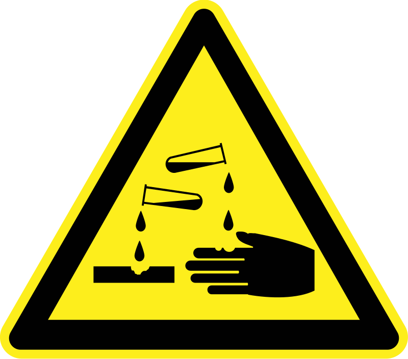 Corrosive Material Warning Sign