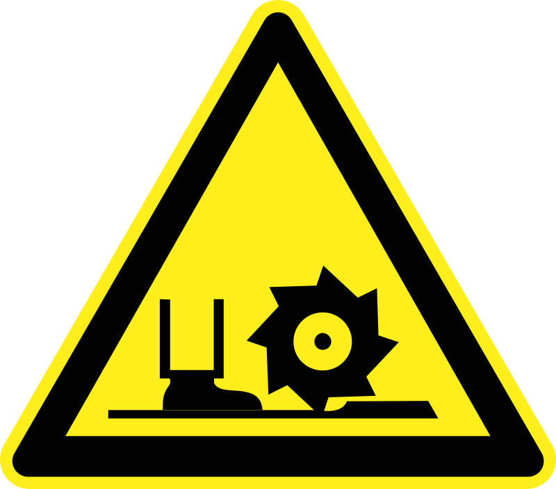 Danger Cutter Toe Loss Warning Sign