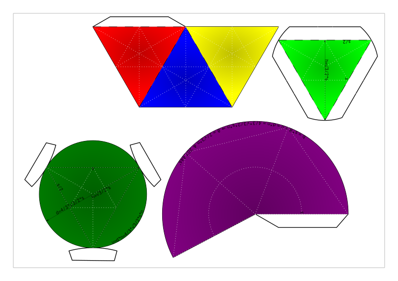 nets of cone enveloped tetrahedron