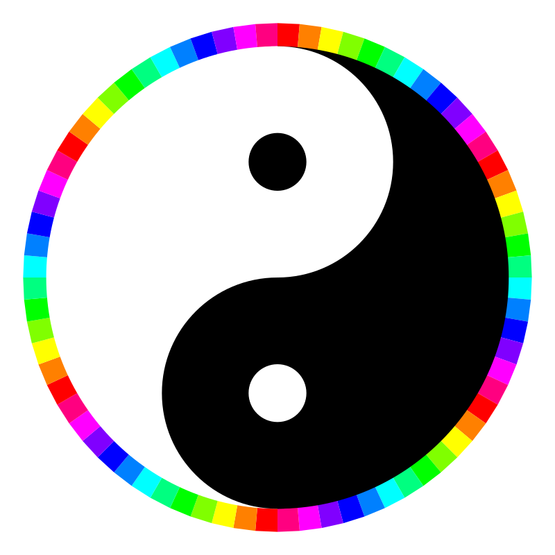 rainbow around yinyang