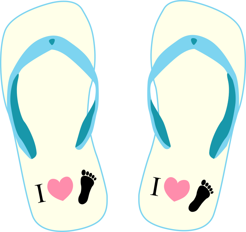 "Thong light yellow and blue with ""I Love Foot"" symbol"