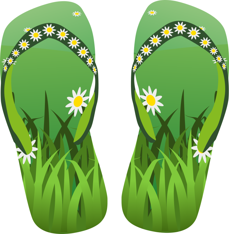 Thong green with grass and flowers