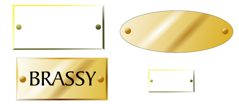 Brass plaques, tags