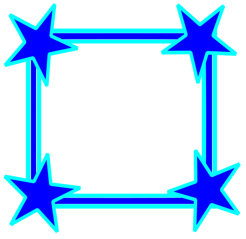 Simple Bright Blue Star Cornered Frame