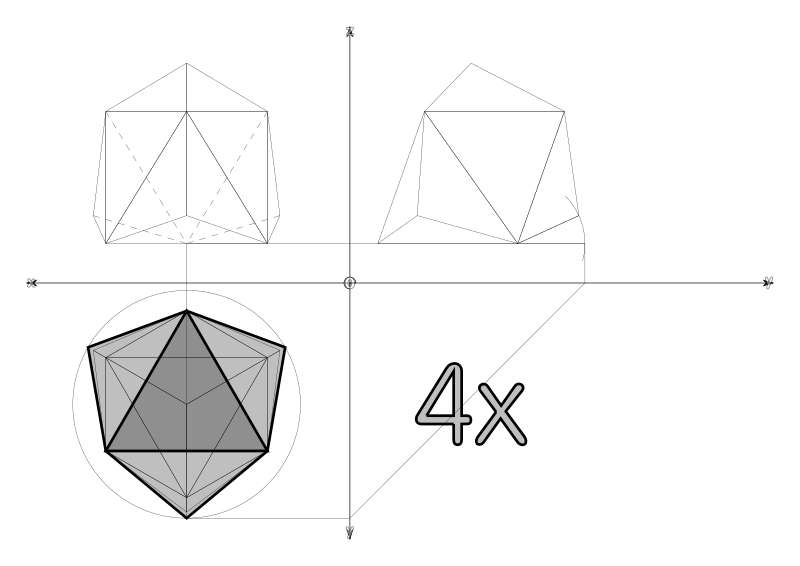 10…10 from tetrahedron to geodesic dome frequncy 2