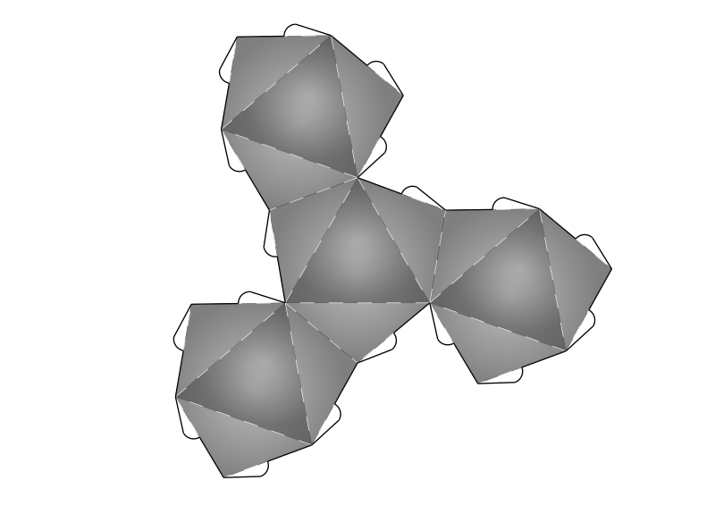 Net from tetrahedron to geodesic dome frequncy 2