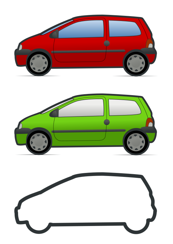 red and green renault twingo
