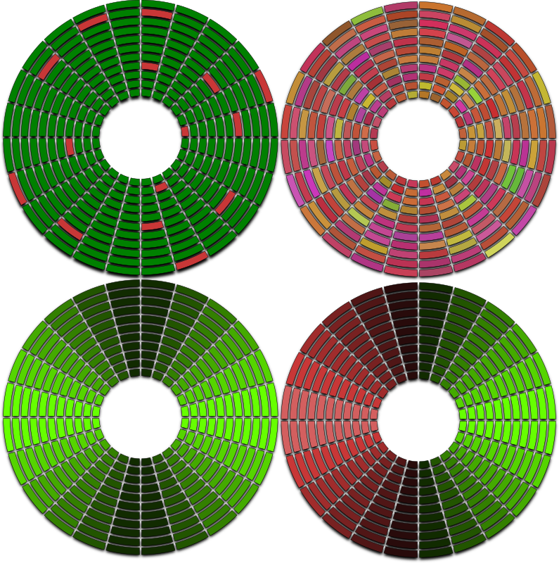 abstract disc circle hdd defragmented fragmented with bad sectors