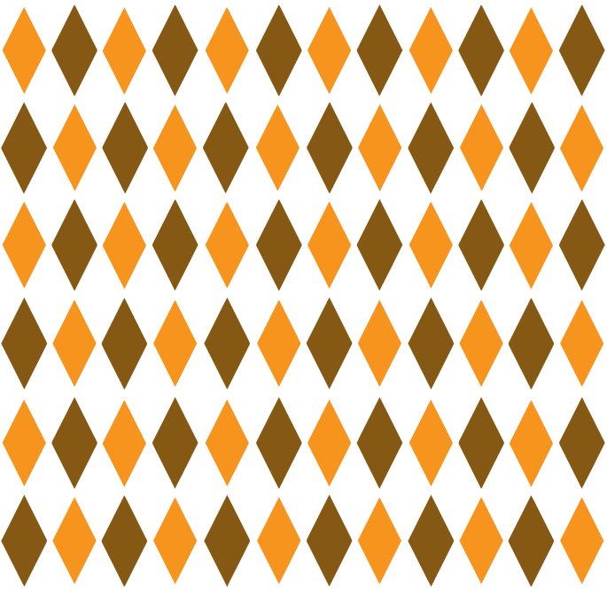 Brown & Orange Retro Diamond Pattern 1