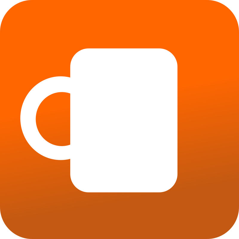Coffee mug icon - Orange BAckground