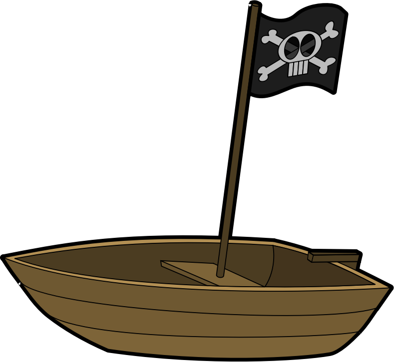 Pirate Boat with Pirate Flag