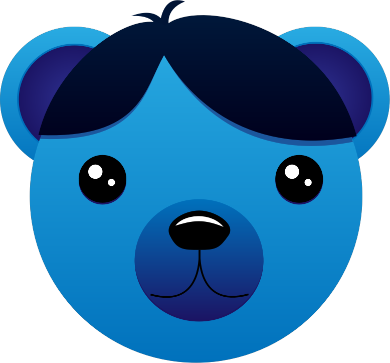 Blue Bear with parted hair