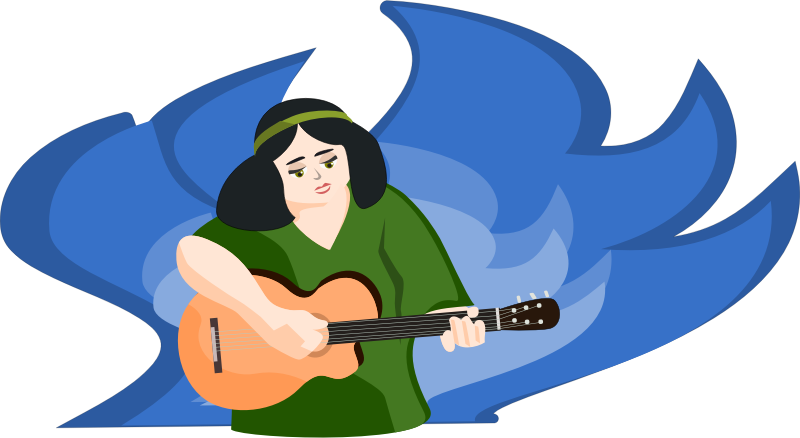bard woman playing gitar