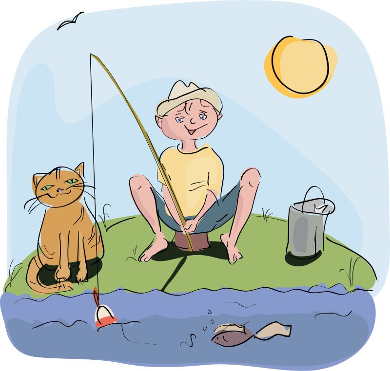 boy and cat fishing