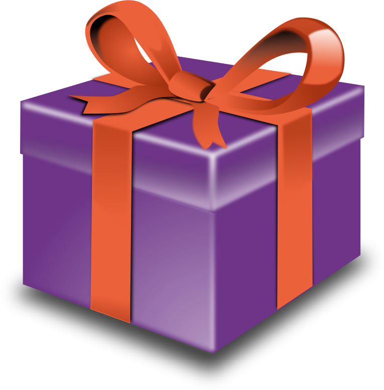 Purple present orange ribbon