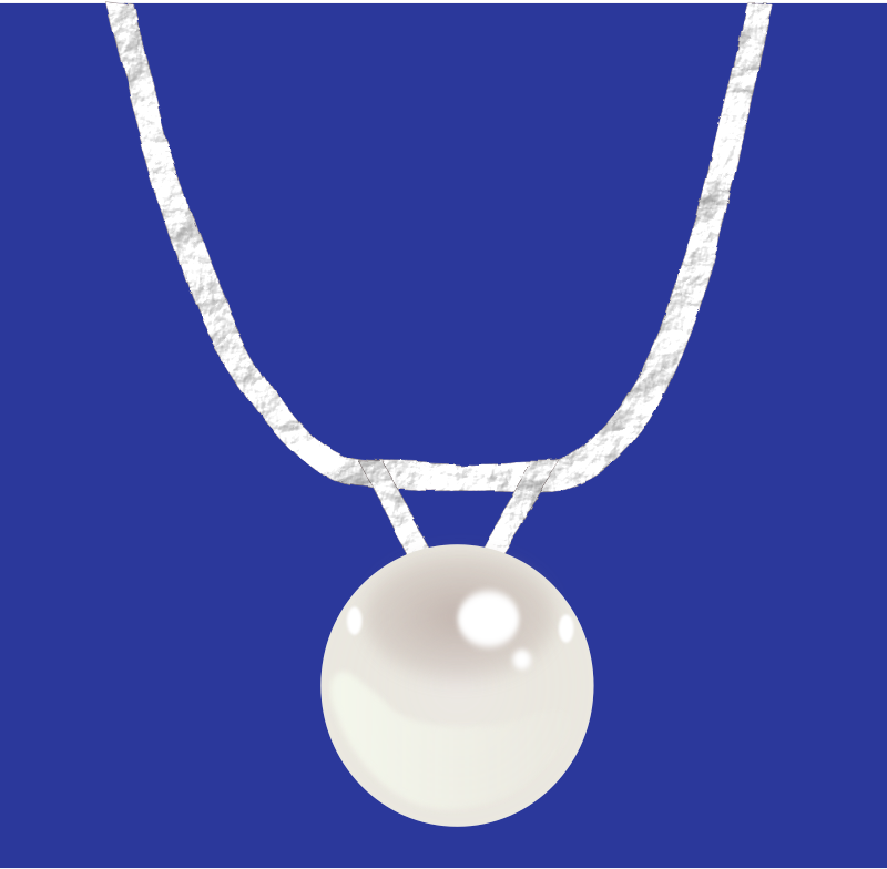 Single pearl necklace on silver chain