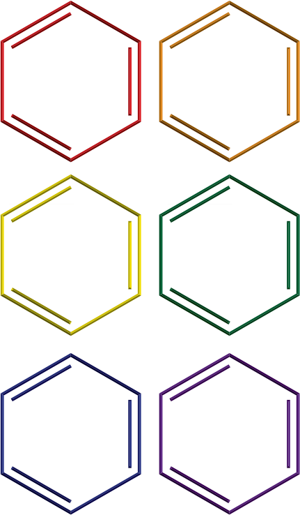 Benzene rings in rainbow colors