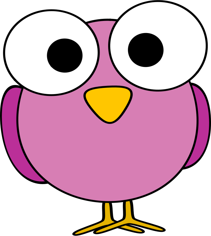 Pink googley-eye bird