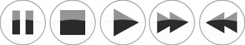 Glossy media player buttons