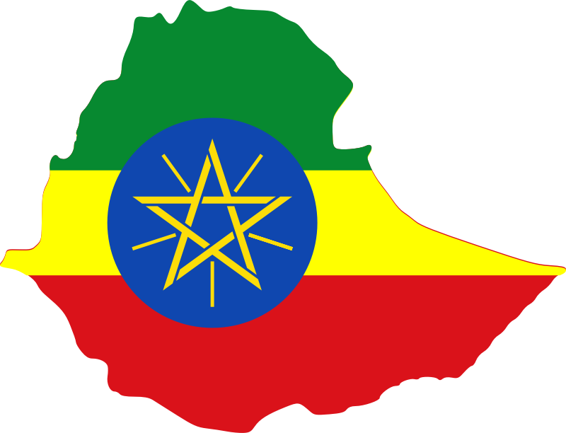 Ethiopia map & flag