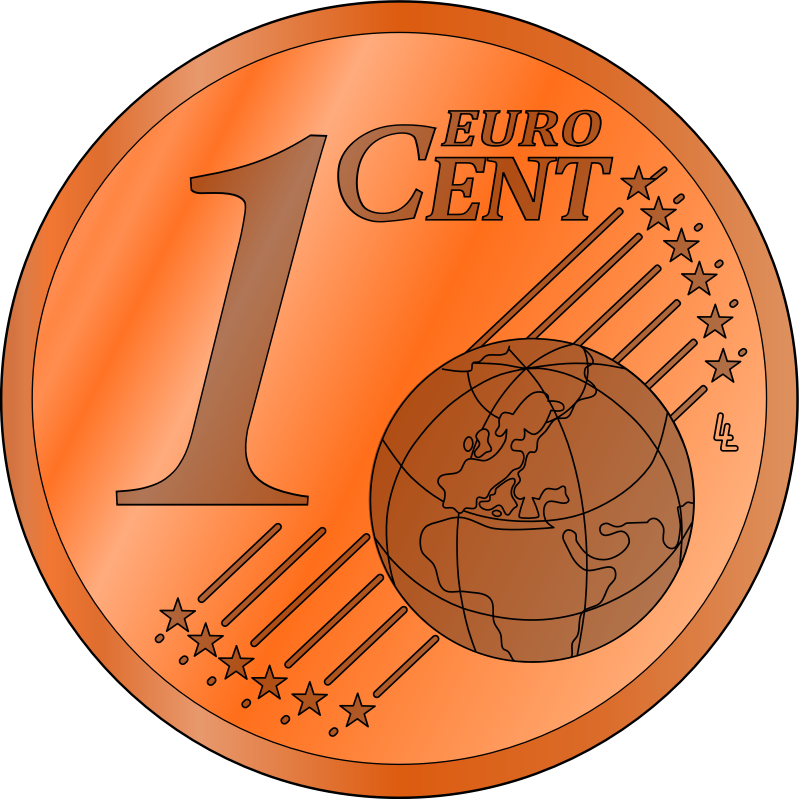 one euro cent, colored