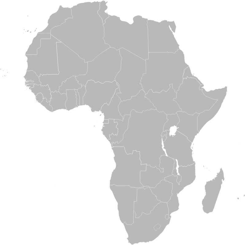 Map of Africa showing Ethiopia