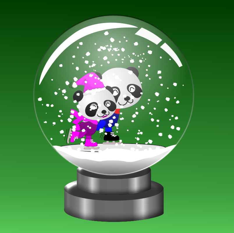 Panda Skaters in Snow Globe