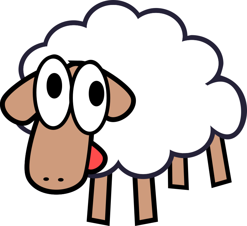 White Stupid & Cute Cartoon Sheep