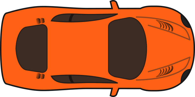 Orange Racing Car (Top View)