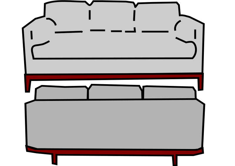 gray sofa front and back