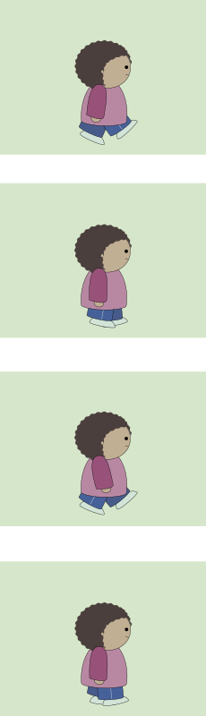 walk cycle, 4 animation frames