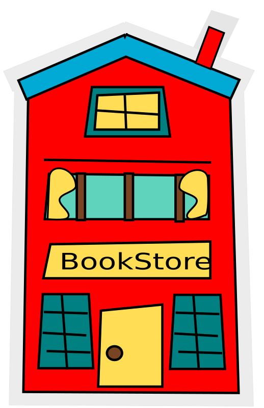 cartoon bookstore-building