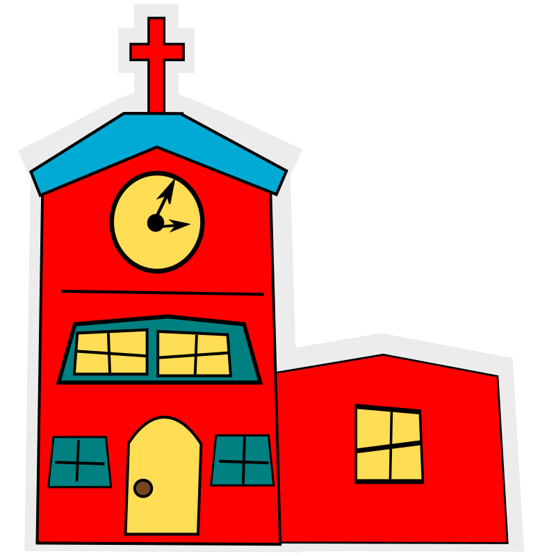 cartoon-church with a cross