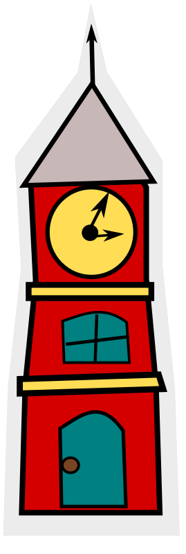 cartoon-tower with a clock