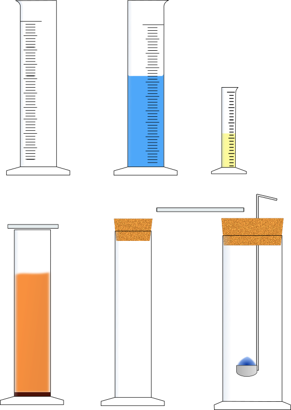 Stand- und Meßzylinder erweitert / Measuring cylinder with equipment