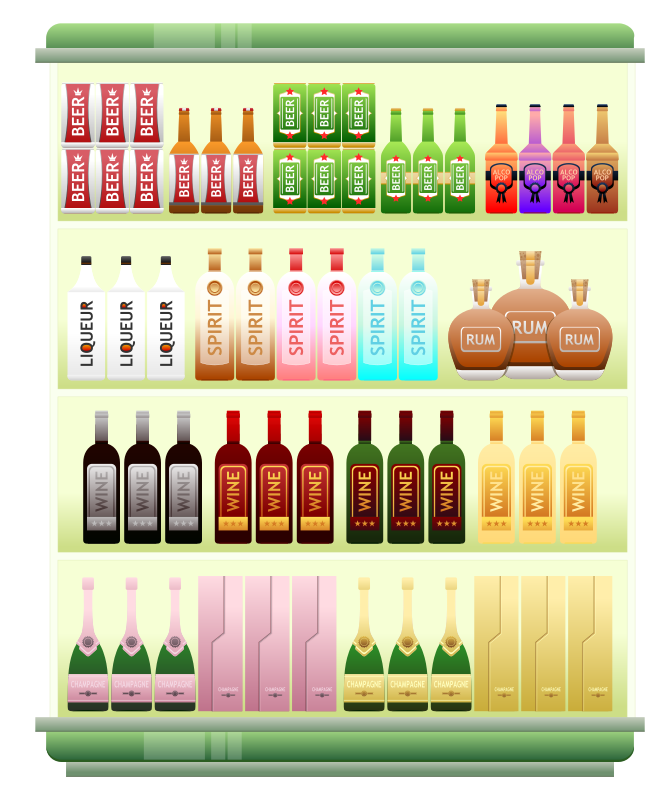 Supermarket Goods Liquor Shelf