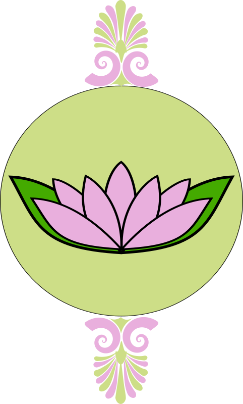 Lavender and green frame with lotus