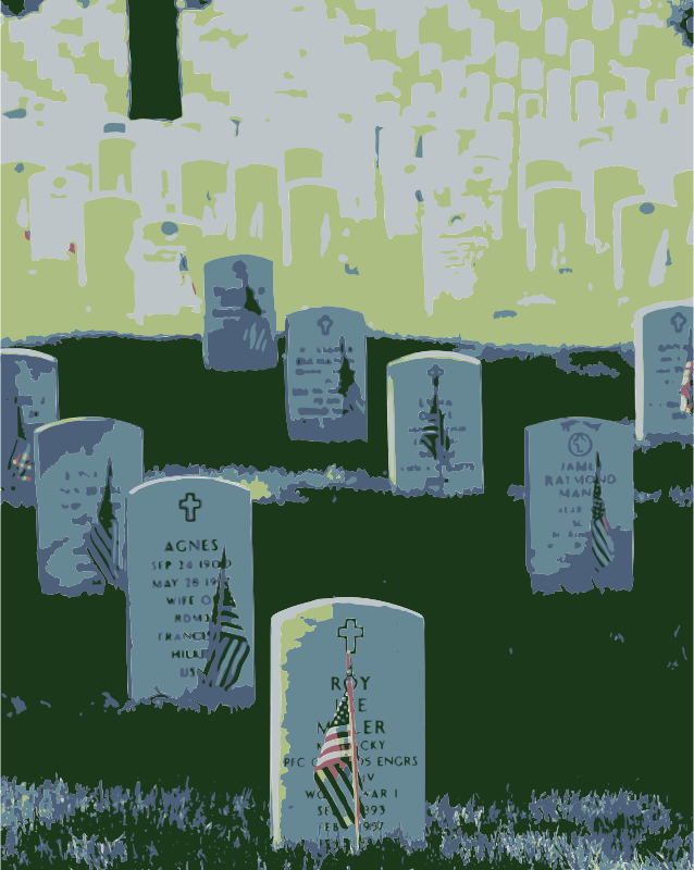 Graves at Arlington on Memorial Day Colorized