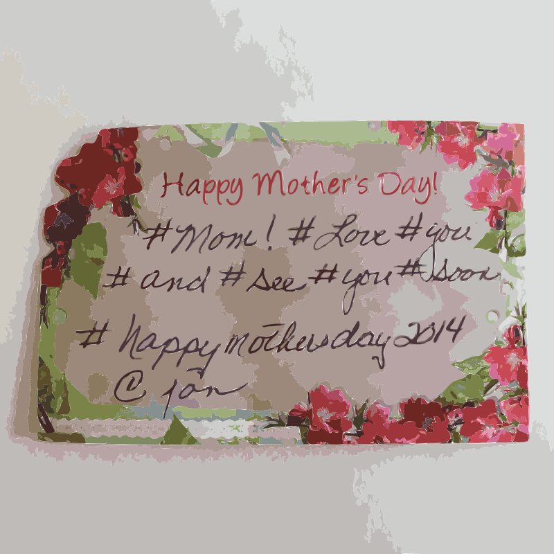 Mothers Day Card with hashtags