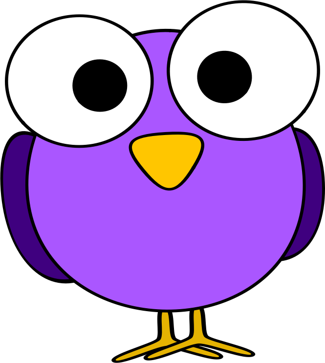 purple googly-eye bird