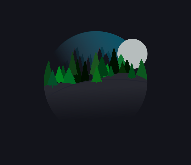 A Nighttime Forest Scene with Trees that is Round