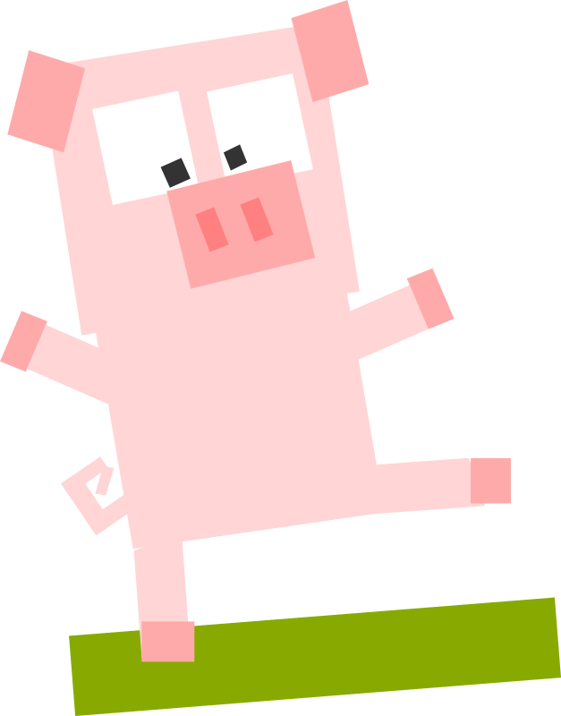 Square animal cartoon pig