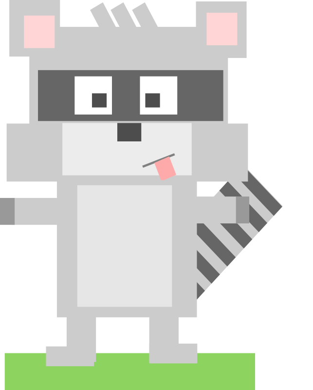 Square animal cartoon raccoon