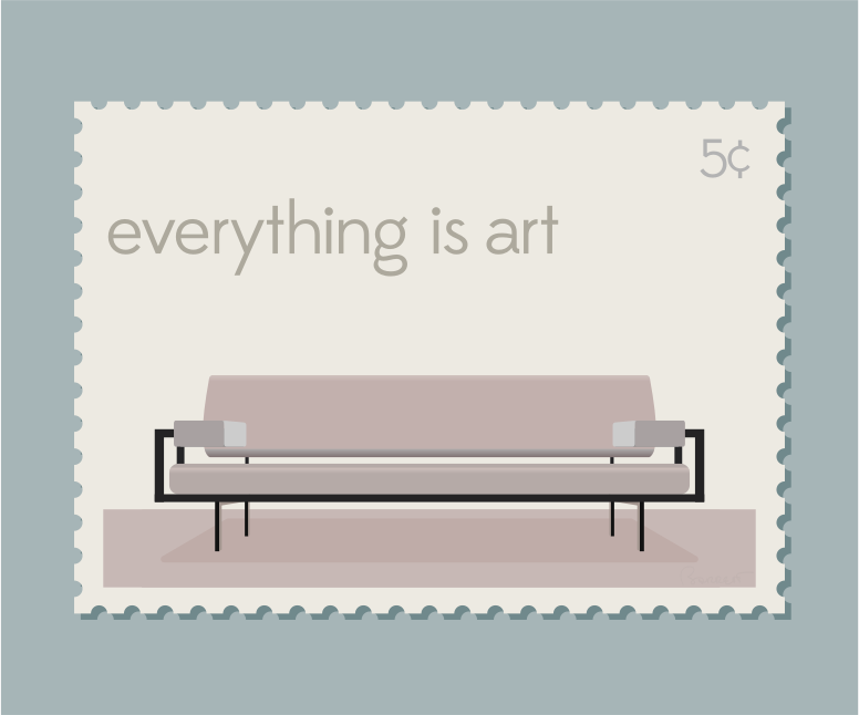 Mid-Century Stamp with Modern Couch