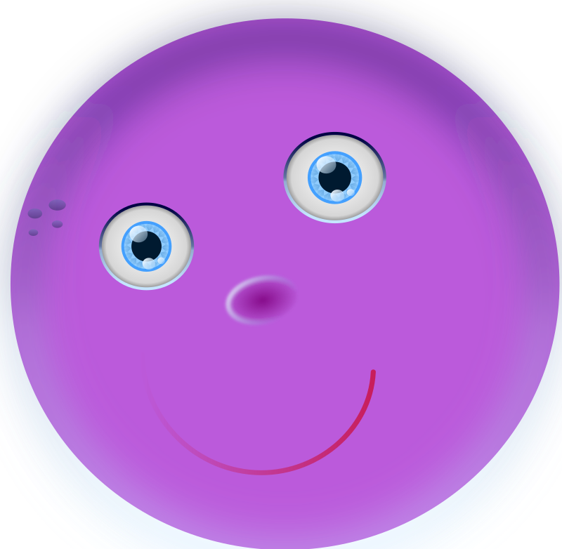 round purple face