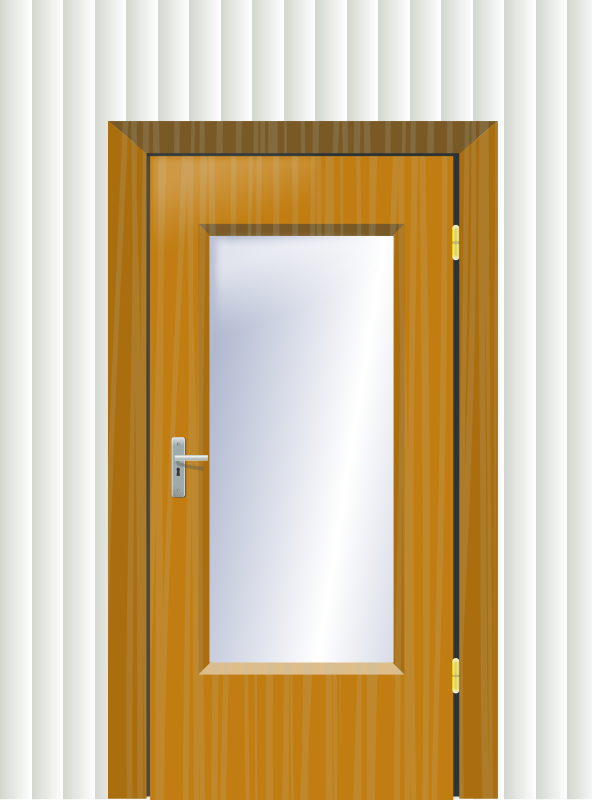 Door with cristal and wall
