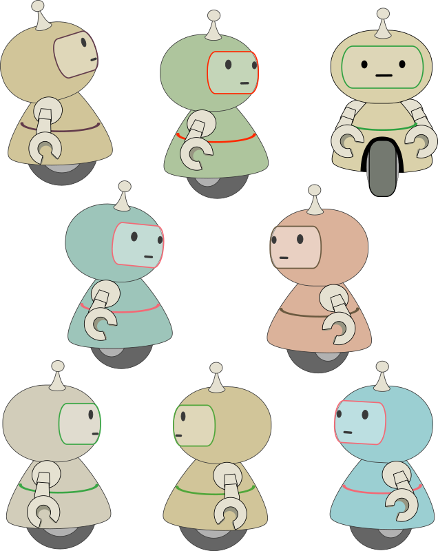 Eight little robots
