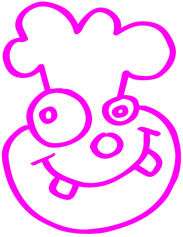 Pink Funny Cartoon Face