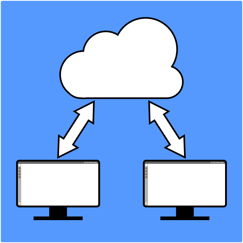 Two computers sharing using the cloud