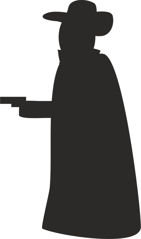 Robber with gun silhouette